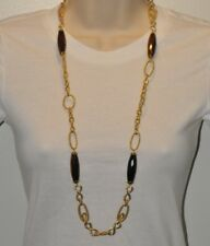 "Technibond LONG Tiger Eye Necklace 14K Clad Silver 35"""