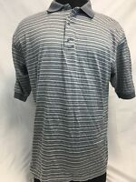 Men's Carnoustie Golf Gray Shale Stripe Polo Shirt Sz XL Mercerized Cotton Nice!