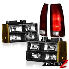 94-98 GMC Sierra Nighthawk Black Headlamps Bumper Smoked Red Tail Brake Lights