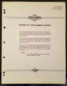 Briggs & Stratton Engines by Type Number & Model circa 1960