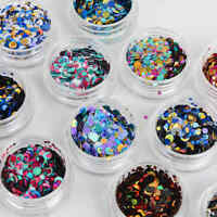 12Pcs Nail Art Glitter Shapes Confetti Sequins Round Square Acrylic Tip Manicure