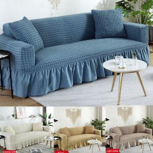 Elastic Stripe Sofa Cover Skirt Couch Slipcover for Living Room 1/2/3/4 Seater