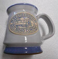New Featherbeds Railroad Company Stoneware Deneen Pottery Souvenir Mug. Blue