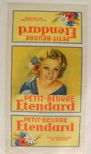 AFFICHE ANCIENNE 1920-30 BOITE BISCUIT PETIT BEURRE ETENDARD PUB VINTAGE LU