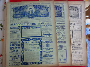 3X VINTAGE WW1 FISHING GAZETTE NEWSPAPERS LOTS OF EARLY FISHING ADVERTS