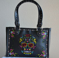 Sugar skull handbags for women floral concealed carry embroidered shopper bling