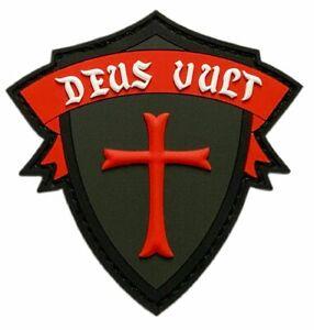 Deus Vult Cross Shield Christian Templar Knight in God Wills Patch [PVC -KT3]