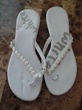 a1420fc1f5ee ladies SIZE 9 10 WHITE FLIP FLOPS sandals shoes DRESSY fancy SHOWS WEAR  thong