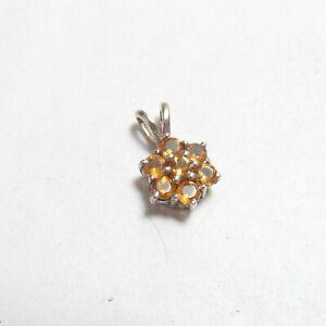 Small Estate 14K White Gold 7 Natural Round Sun Orange Citrine Pendant 0.70 Cts