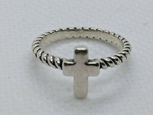 James Avery Sterling Silver Twisted Wire Cross Ring Size 4.75  FREE SHIPPING