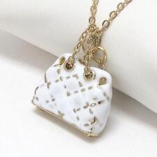 G9 White Fashion Purse Bag Charm NECKLACE Epoxy Enamel Gold Plated NEW