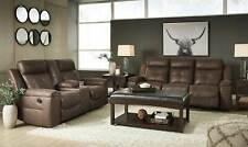 Modern Living Room Furniture Brown Fabric Reclining 2 piece Sofa Couch Set IF02