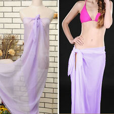 Lavender Solid Sheer Pareo Dress Sarong Beach Bikini Swim Cover Up Scarf Wrap OS
