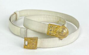 """Judith Leiber Women up to 35"""" Sz M Ivory Leather Belt Gold Tone Buckle Auth"""