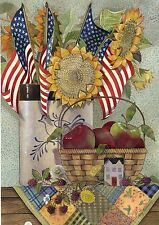 Patriotic American Sunflower Crock Country Folk Sm Basket Apples Garden Flag
