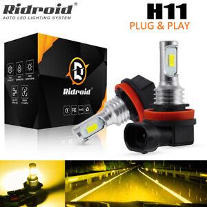 2X H11 LED Headlight Kit Hi/Low Beam Fog Bulbs DRL Driving Lamp 3000K Yellow UK