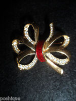 Roman Bow Ribbon Crystal Clear Statement Pin Brooch Vintage Antique Gold Tone