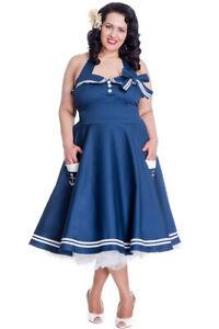 Hell Bunny MOTLEY 50s Sailor Matrosen Pin Up Kleid PLUS SIZE Navy Rockabilly