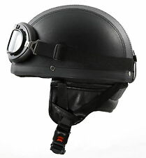 H110 Leder Retro Helm Größe: S 55-56 Motorradhelm Oldtimerhelm Halbschale