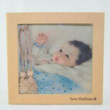 New Terra Traditions Baby Photo Album Tassels With Blue Swarovski Crystal