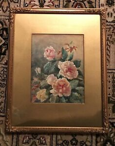 Original Framed Signed Watercolour Painting ~ Still Life Study of Flowers