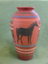 """Indian LARGE 14"""" VASE Native American Black Horse Carved and Decorated Signed JW"""