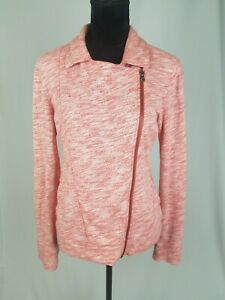 Lucy women SP moto jacket zip up heather pink elbow patches