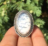 Eye Catching 925 Sterling Silver Dendritic Opal Gemstone Ladies Ring Adjustable