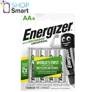4 ENERGIZER AA HR6 ACCU RECHARGE UNIVERSAL BATTERIES 1.2V 1300mAh NiMH NEW
