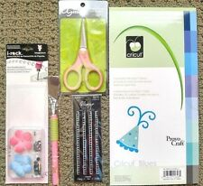"NEW~Cricut ""Blues"" Paper Pad+irock STENCIL KIT+Hot Fix Crystals+Spatula+Scissors"