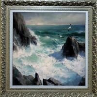 "Hand painted Original Oil Painting art Landscape Ocean wave on canvas 36""X36"""