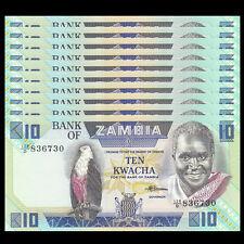 Lot 10 PCS, Zambia 10 Kwacha, 1986-1988, P-26e, UNC