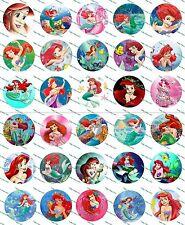 """30 Precut 1"""" Little Mermaid Bottle cap Image Set 1"""