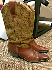 Sz 8.5 Matisse Leather/Tapestry Boots Western/Cowgirl/Mori Kei/Hippie Vero Cuoio