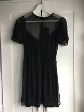 Zara Black Spot Mesh Knit Layered Skater Mini Tea Dress Size Small