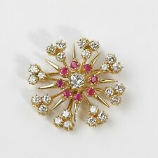 STUNNING VINTAGE 14k YELLOW GOLD 3CT DIAMOND & RUBY SNOWFLAKE PENDANT/ BROOCH