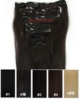 28inch 7PCS Clip In Real Remy Human Hair Extensions Straight More Color 120g