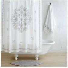 John Robshaw Embroidered Elephants flowers Fabric shower curtain White Grey New