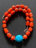 Turquoise & Orange Bamboo Coral chunky beaded bohemian handmade necklace.