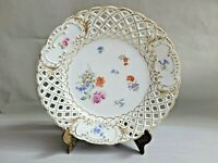Antique Vtg Germany Reticulated Floral Porcelain Plate 8.75'' W