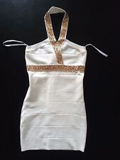 NWT bebe ivory white gold sequin embellished halter bandage top dress XS 0 2