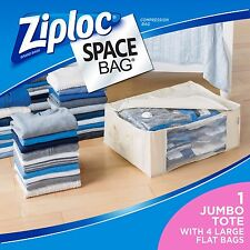NEW Ziploc Space Vacuum Seal Storage Large Flat Bags Tote Saving Clothing 5 Pcs