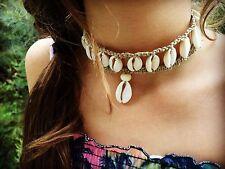 Hand Made Hemp Macrame Necklace with Cowrie Shells, Bohemian Gypsy