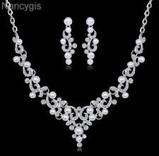 Silver Pearl Crystal Link Chain Necklace and Earrings Wedding Jewellery Set