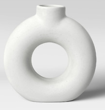 """Project 62 White Circle Hole Textured Vase Ceramic 7�x2"""" Sold Out Htf Target"""