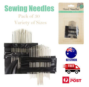 30 Pcs/4 Sizes Sewing Needles Set Silver Mending Embroidery Hand Craft Needle