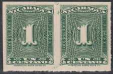 NICARAGUA 1937 Sc RA43 PAIR PROOF ON CARD VERTICALLY IMPERF UNRECORDED!