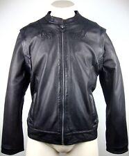 FRANKIE MORELLO Leather Jacket Lederjacke Herren Bikerjacke Black Gr.50 NEU