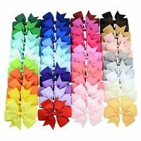 40Pcs 3inch Boutique Grosgrain Ribbon Baby Girls Hair Bows w/Clips for  Toddlers