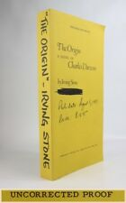 ~>THE ORIGIN<~HISTORICAL NOVEL*CHARLES DARWIN*IRVING STONE*INSCRIBED PROOF COPY